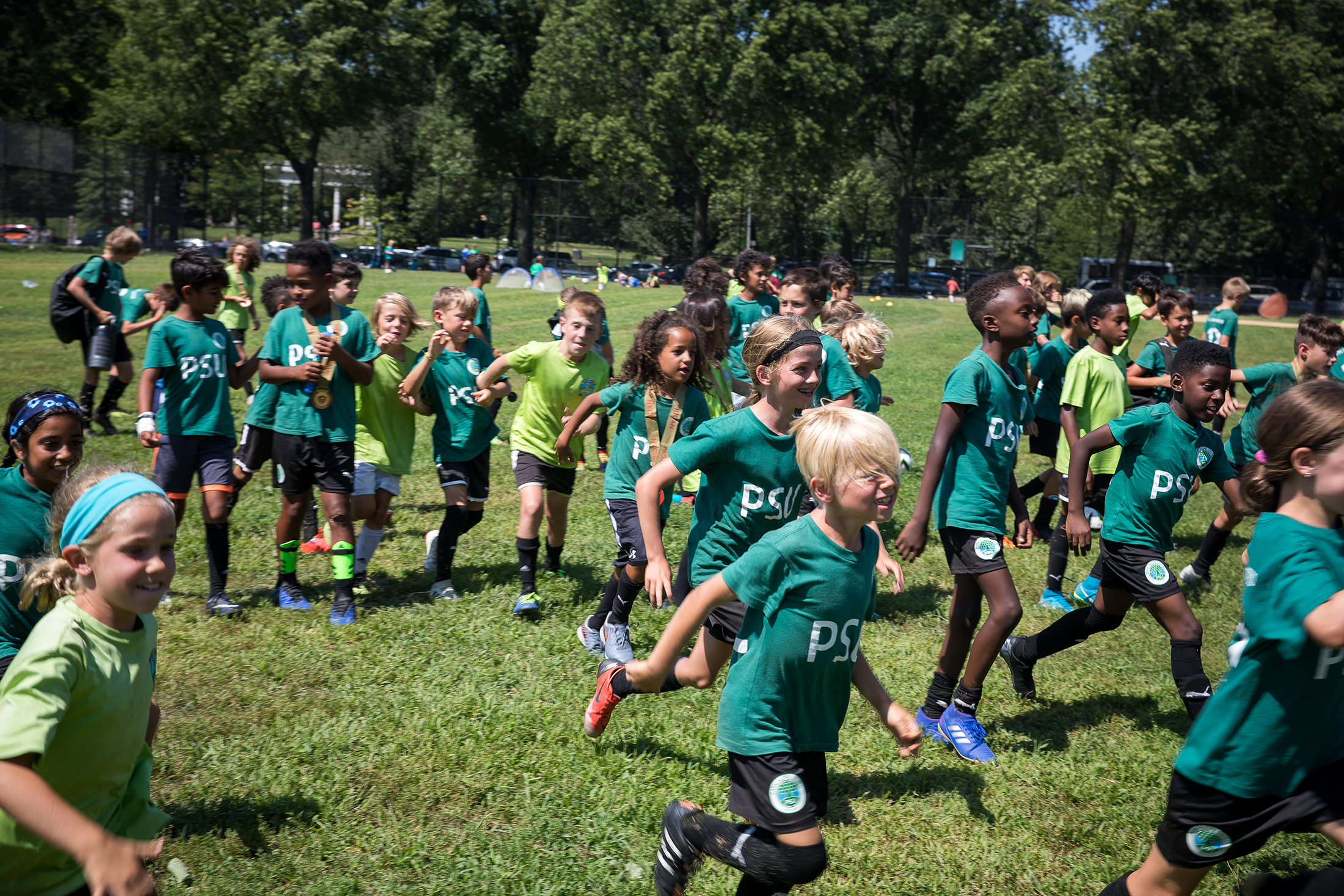 Park Slope United (PSU) pre-season camp at Prospect Park Parade Grounds on August 31, 2019 in Brooklyn, NY.  Photograph by Michael Nagle