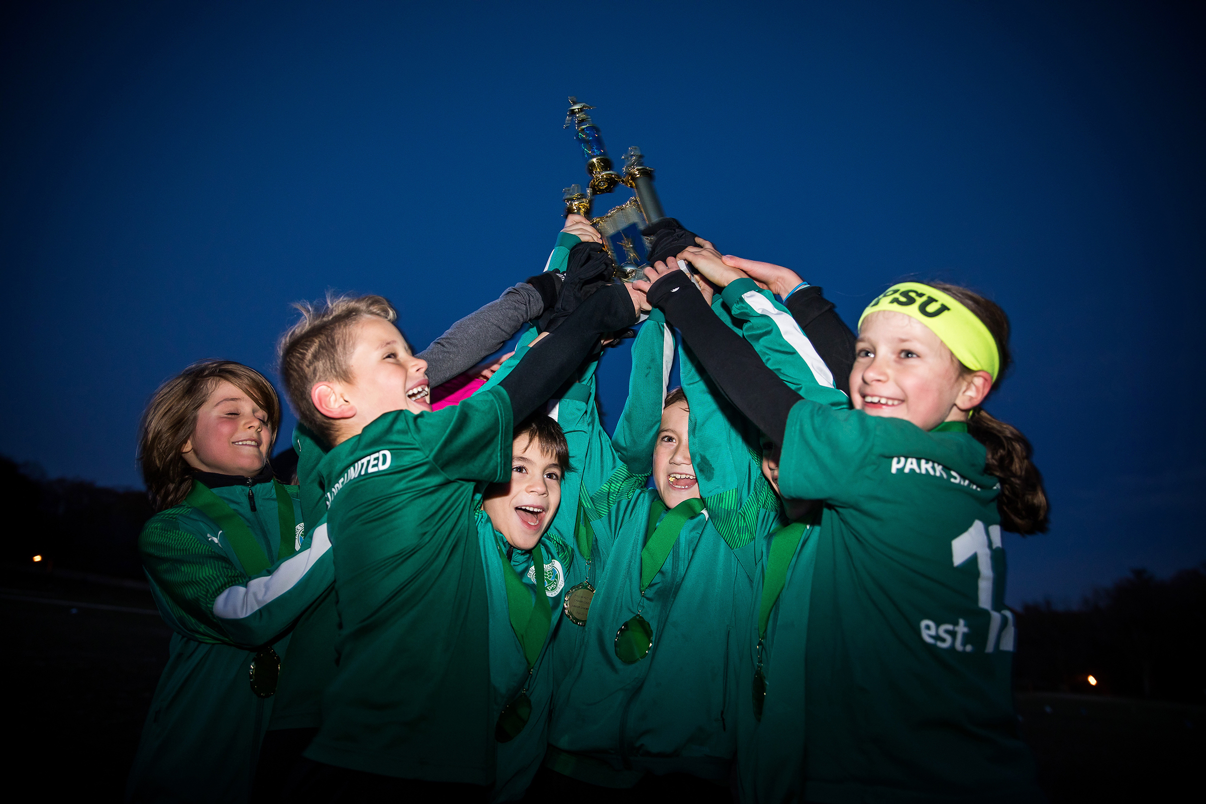 Park Slope United (PSU) 2019 travel players compete in the Mixed-Age Pickup Championship on November 22, 2019 in Prospect Park, Brooklyn, NY